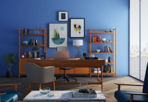 A blue accent wall in a home office